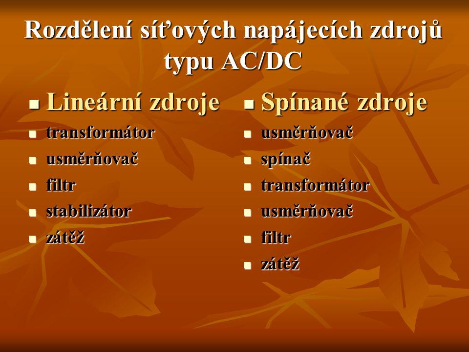 Rozdělení síťových napájecích zdrojů typu AC/DC Lineární zdroje Lineární zdroje transformátor transformátor usměrňovač usměrňovač filtr filtr stabiliz
