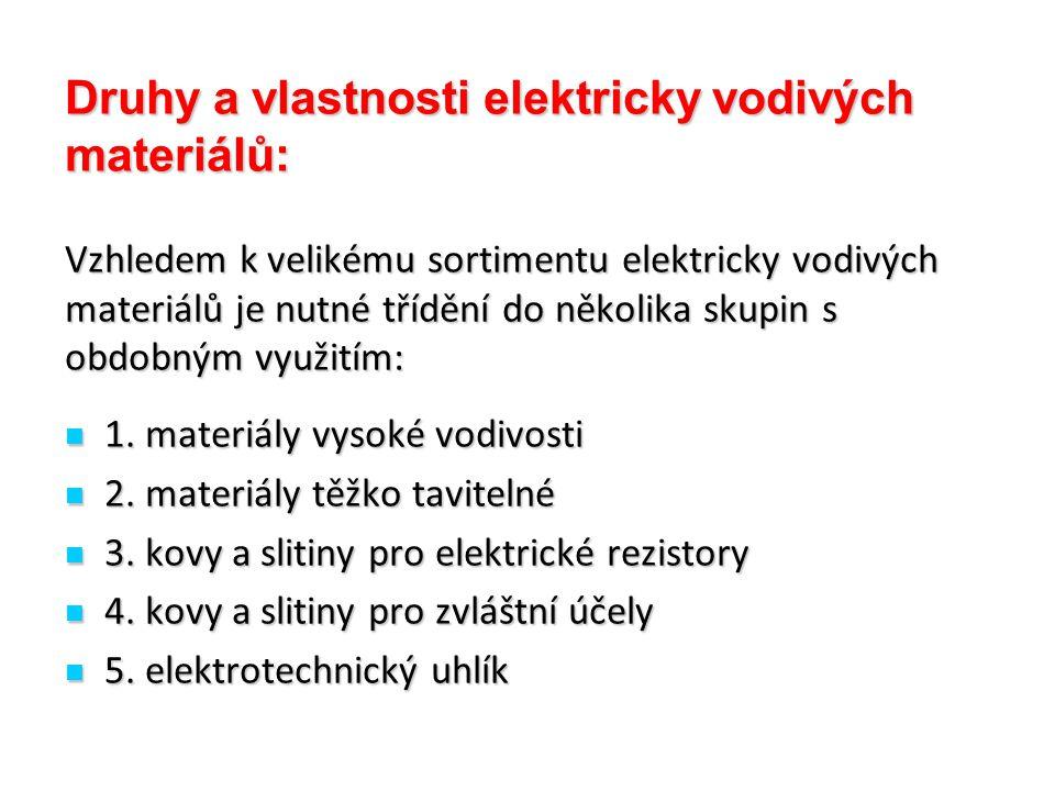 Druhy a vlastnosti elektricky vodivých materiálů: Vzhledem k velikému sortimentu elektricky vodivých materiálů je nutné třídění do několika skupin s o