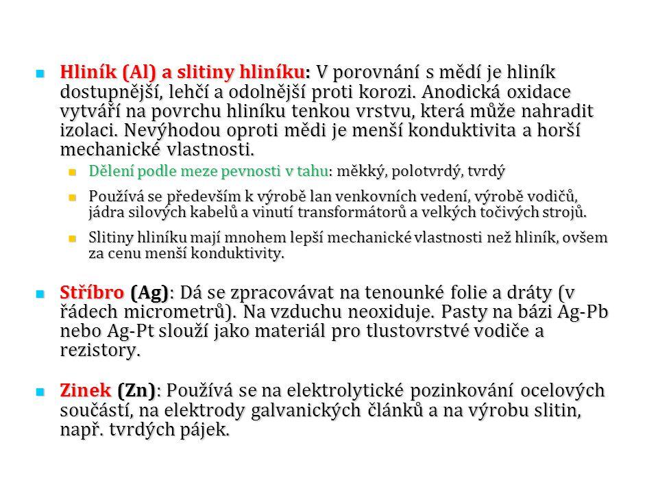 Hliník (Al) a slitiny hliníku: V porovnání s mědí je hliník dostupnější, lehčí a odolnější proti korozi. Anodická oxidace vytváří na povrchu hliníku t