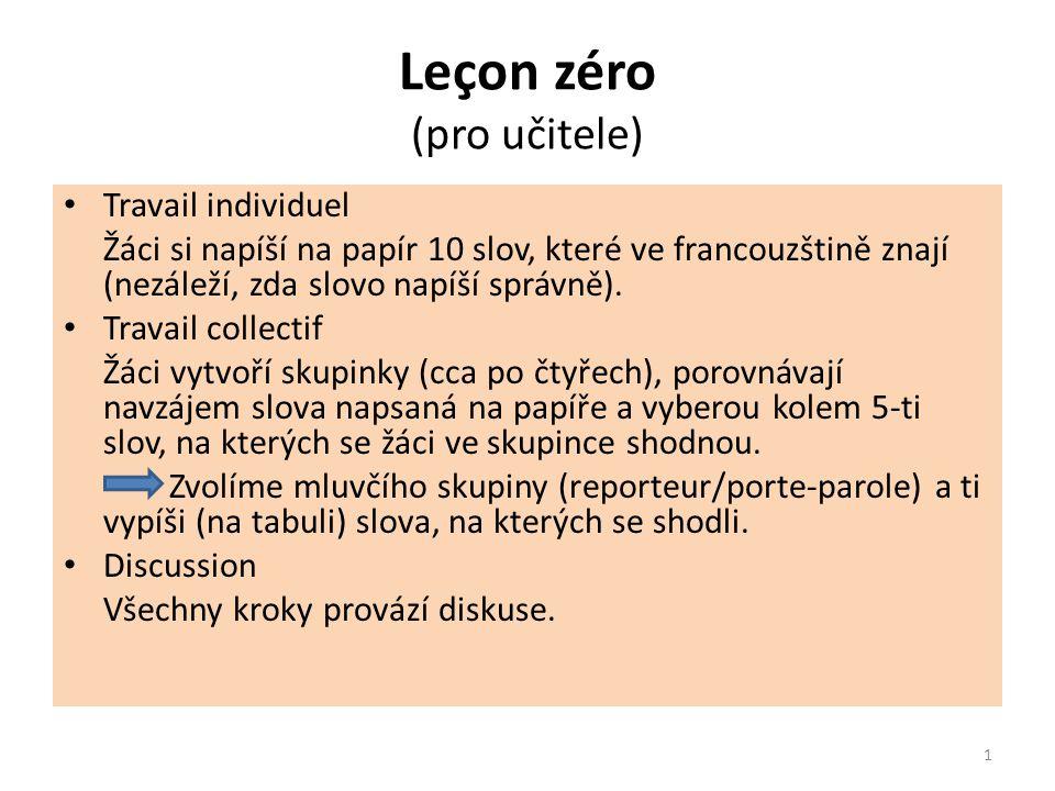 Leçon zéro (pro učitele) Travail individuel Žáci si napíší na papír 10 slov, které ve francouzštině znají (nezáleží, zda slovo napíší správně).