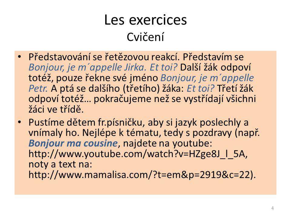 Les exercices Cvičení Představování se řetězovou reakcí.