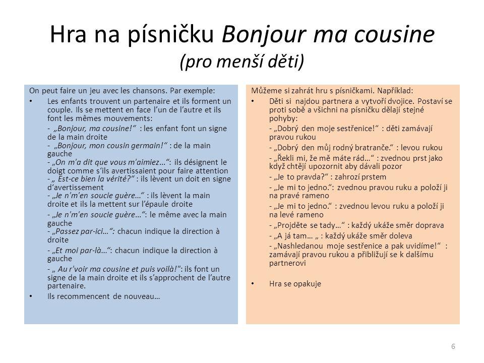 Hra na písničku Bonjour ma cousine (pro menší děti) On peut faire un jeu avec les chansons.