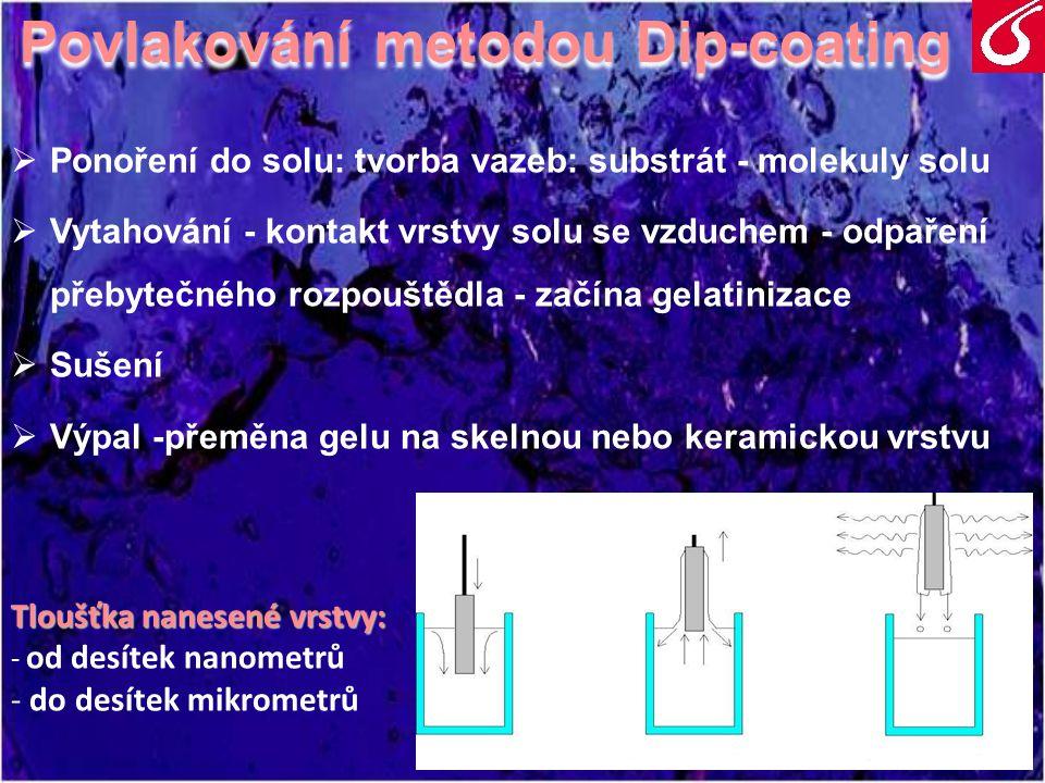 Použití metody sol – gel v restaurování Pro účely preventivní konzervace povrchu skla:  Pro účely preventivní konzervace povrchu skla: - zlepšení chemické odolnosti povrchu - zlepšení chemické odolnosti povrchu - mechanická fixace odlupujících se korozních vrstev - mechanická fixace odlupujících se korozních vrstev  Archeologické sklo - zatím není obecně používaná - možnost vylepšit antibakteriální vlastnosti - možnost vylepšit antibakteriální vlastnosti uloženého skla (přídavkem Ag+ iontu) uloženého skla (přídavkem Ag+ iontu)  Vitráže - sklo neustále vystavené povětrnostním podmínkám - vylepšení samočistících schopností (přídavek TiO 2 ) - vylepšení samočistících schopností (přídavek TiO 2 )  Poslední soud na katedrále sv.