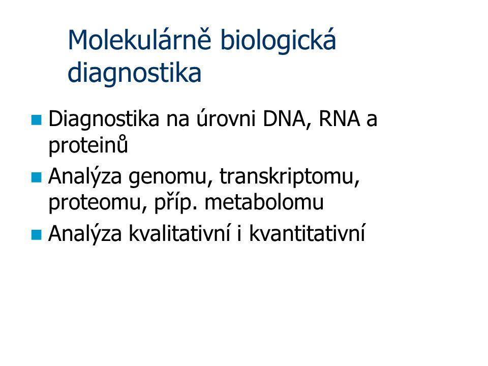 Molekulárně biologická diagnostika Diagnostika na úrovni DNA, RNA a proteinů Analýza genomu, transkriptomu, proteomu, příp.