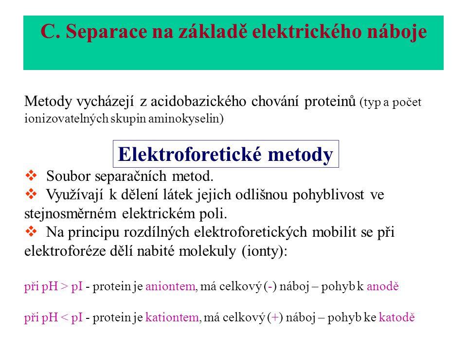 Metody vycházejí z acidobazického chování proteinů (typ a počet ionizovatelných skupin aminokyselin) Elektroforetické metody  Soubor separačních metod.