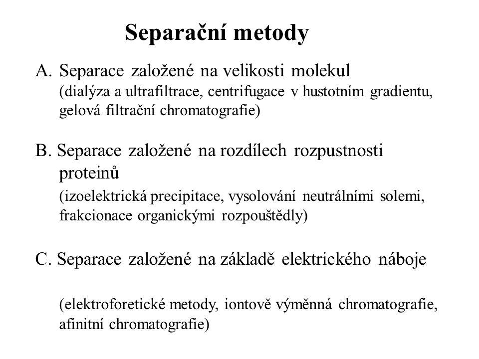 A.Separace založené na velikosti molekul (dialýza a ultrafiltrace, centrifugace v hustotním gradientu, gelová filtrační chromatografie) B.