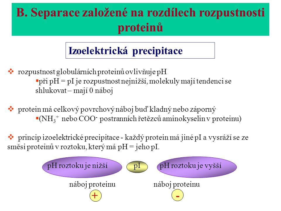  rozpustnost globulárních proteinů ovlivňuje pH  při pH = pI je rozpustnost nejnižší, molekuly mají tendenci se shlukovat – mají 0 náboj  protein má celkový povrchový náboj buď kladný nebo záporný  (NH 3 + nebo COO - postranních řetězců aminokyselin v proteinu)  princip izoelektrické precipitace - každý protein má jiné pI a vysráží se ze směsi proteinů v roztoku, který má pH = jeho pI.