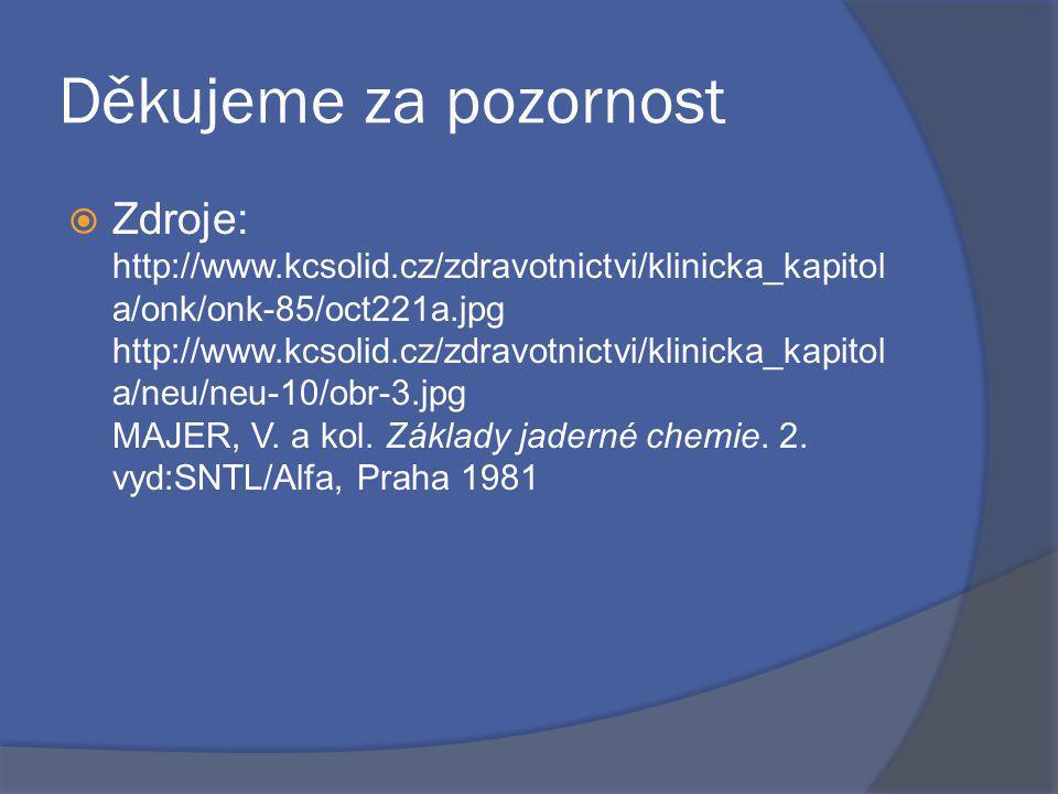 Děkujeme za pozornost  Zdroje: http://www.kcsolid.cz/zdravotnictvi/klinicka_kapitol a/onk/onk-85/oct221a.jpg http://www.kcsolid.cz/zdravotnictvi/klinicka_kapitol a/neu/neu-10/obr-3.jpg MAJER, V.