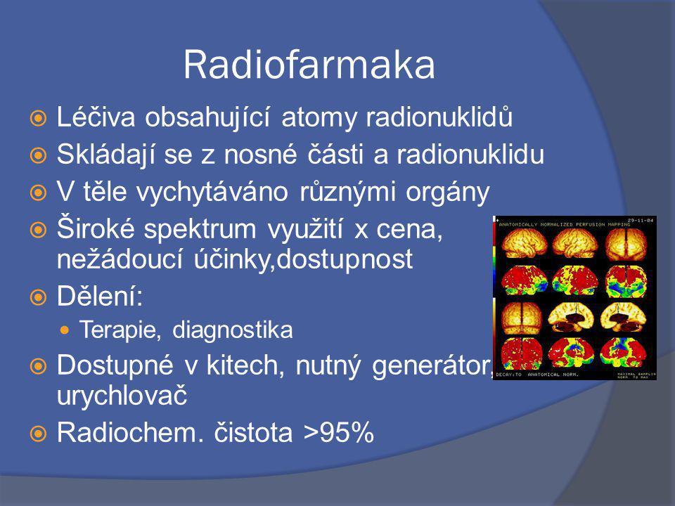 Radiofarmaka  Léčiva obsahující atomy radionuklidů  Skládají se z nosné části a radionuklidu  V těle vychytáváno různými orgány  Široké spektrum využití x cena, nežádoucí účinky,dostupnost  Dělení: Terapie, diagnostika  Dostupné v kitech, nutný generátor, reaktor, urychlovač  Radiochem.