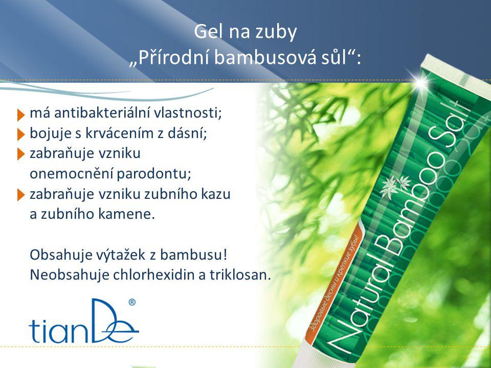 """Gel na zuby """"Přírodní bambusová sůl : má antibakteriální vlastnosti; bojuje s krvácením z dásní; zabraňuje vzniku onemocnění parodontu; zabraňuje vzniku zubního kazu a zubního kamene."""