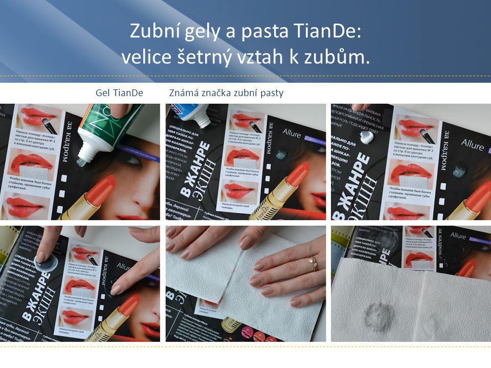 Zubní gely a pasta TianDe: velice šetrný vztah k zubům. Gel TianDeZnámá značka zubní pasty