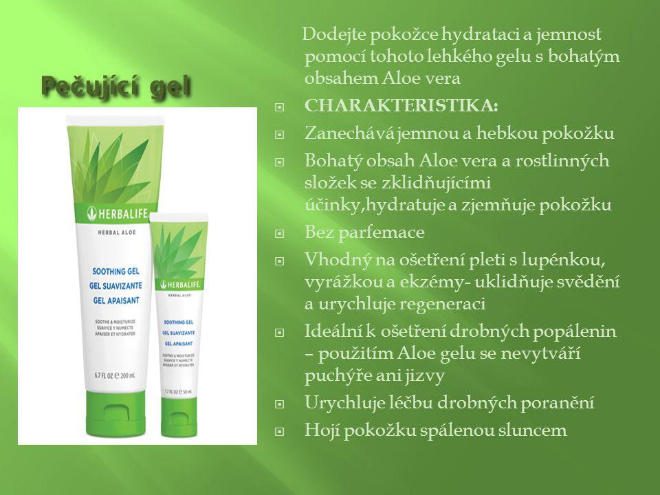 Pe č ující gel Dodejte pokožce hydrataci a jemnost pomocí tohoto lehkého gelu s bohatým obsahem Aloe vera  CHARAKTERISTIKA:  Zanechává jemnou a hebk