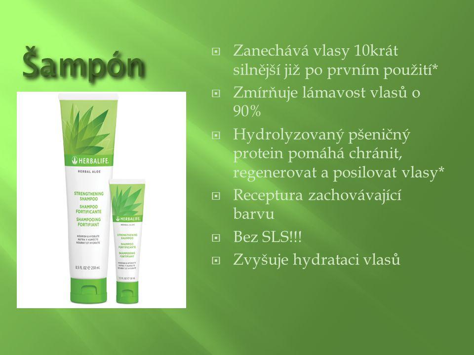 ŠampónŠampón  Zanechává vlasy 10krát silnější již po prvním použití*  Zmírňuje lámavost vlasů o 90%  Hydrolyzovaný pšeničný protein pomáhá chránit,