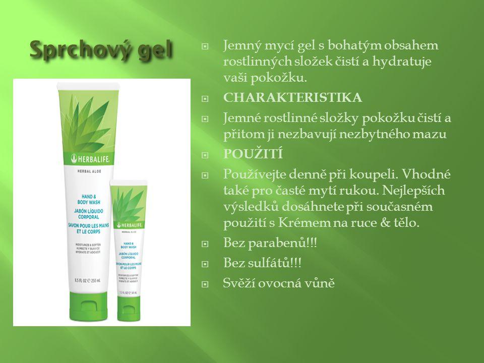 Sprchový gel  Jemný mycí gel s bohatým obsahem rostlinných složek čistí a hydratuje vaši pokožku.  CHARAKTERISTIKA  Jemné rostlinné složky pokožku