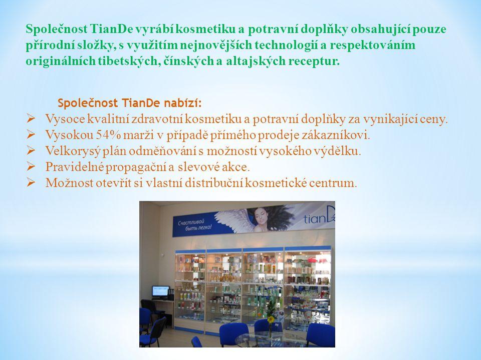 Společnost TianDe vyrábí kosmetiku a potravní doplňky obsahující pouze přírodní složky, s využitím nejnovějších technologií a respektováním originální