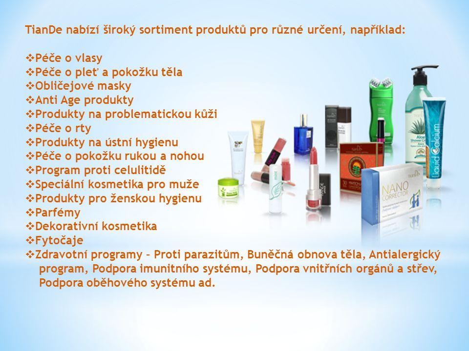 TianDe nabízí široký sortiment produktů pro různé určení, například:  Péče o vlasy  Péče o pleť a pokožku těla  Obličejové masky  Anti Age produkt