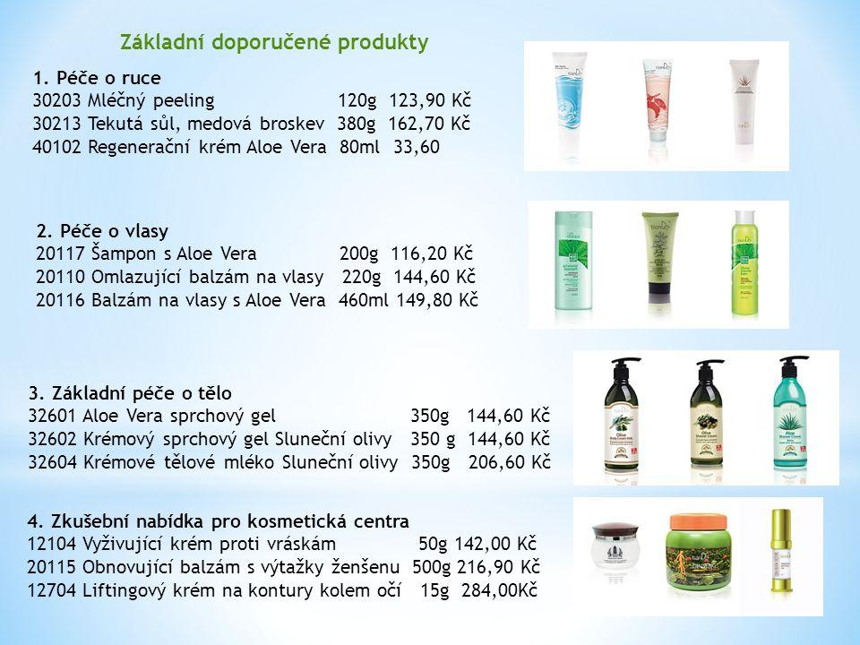 Základní doporučené produkty 1. Péče o ruce 30203 Mléčný peeling 120g 123,90 Kč 30213 Tekutá sůl, medová broskev 380g 162,70 Kč 40102 Regenerační krém