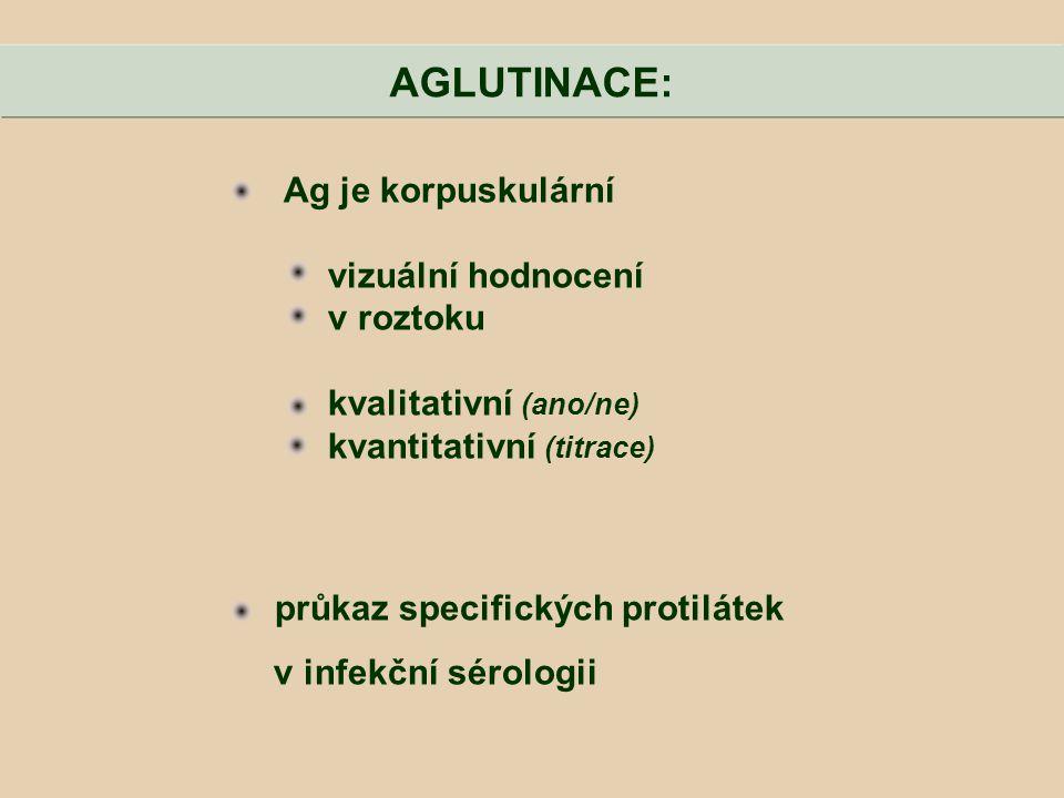 Ag je korpuskulární vizuální hodnocení v roztoku kvalitativní (ano/ne) kvantitativní (titrace) průkaz specifických protilátek v infekční sérologii AGL