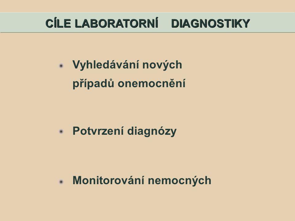 Vyhledávání nových případů onemocnění Potvrzení diagnózy Monitorování nemocných CÍLE LABORATORNÍ DIAGNOSTIKY