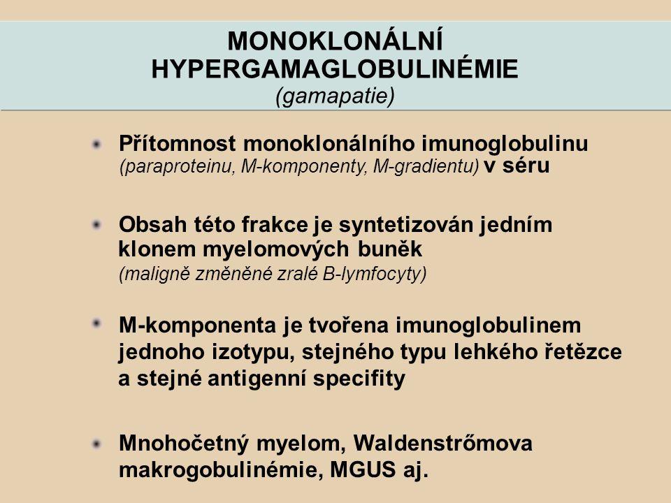 MONOKLONÁLNÍ HYPERGAMAGLOBULINÉMIE (gamapatie) Přítomnost monoklonálního imunoglobulinu (paraproteinu, M-komponenty, M-gradientu) v séru Obsah této fr