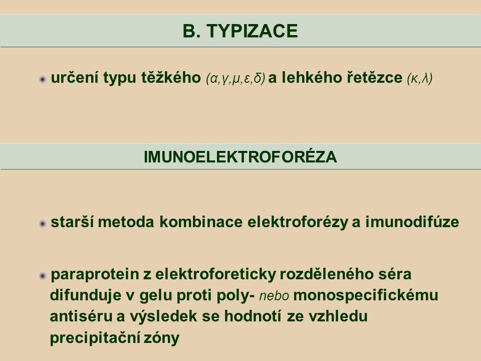 určení typu těžkého (α,γ,μ,ε,δ) a lehkého řetězce (κ,λ) starší metoda kombinace elektroforézy a imunodifúze paraprotein z elektroforeticky rozděleného