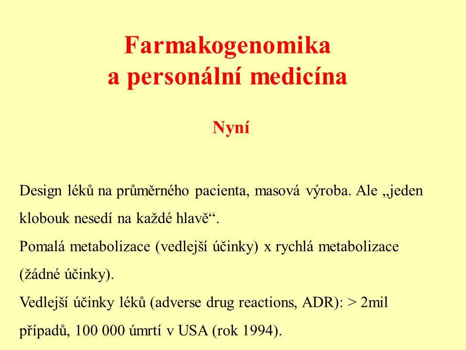 """Farmakogenomika a personální medicína Nyní Design léků na průměrného pacienta, masová výroba. Ale """"jeden klobouk nesedí na každé hlavě"""". Pomalá metabo"""