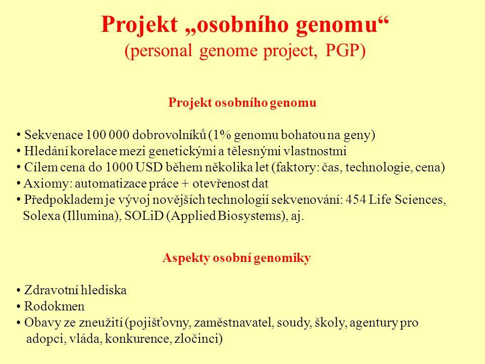 """Projekt """"osobního genomu (personal genome project, PGP) Projekt osobního genomu Sekvenace 100 000 dobrovolníků (1% genomu bohatou na geny) Hledání korelace mezi genetickými a tělesnými vlastnostmi Cílem cena do 1000 USD během několika let (faktory: čas, technologie, cena) Axiomy: automatizace práce + otevřenost dat Předpokladem je vývoj novějších technologií sekvenování: 454 Life Sciences, Solexa (Illumina), SOLiD (Applied Biosystems), aj."""