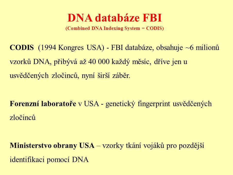 DNA databáze FBI (Combined DNA Indexing System = CODIS) CODIS (1994 Kongres USA) - FBI databáze, obsahuje ~6 milionů vzorků DNA, přibývá až 40 000 každý měsíc, dříve jen u usvědčených zločinců, nyní širší záběr.