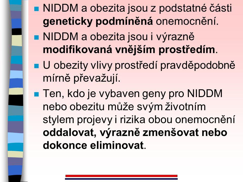 n NIDDM a obezita jsou z podstatné části geneticky podmíněná onemocnění. n NIDDM a obezita jsou i výrazně modifikovaná vnějším prostředím. n U obezity