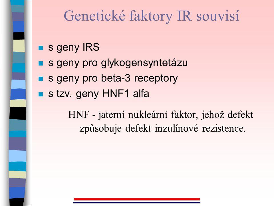 Genetické faktory IR souvisí n s geny IRS n s geny pro glykogensyntetázu n s geny pro beta-3 receptory n s tzv. geny HNF1 alfa HNF - jaterní nukleární