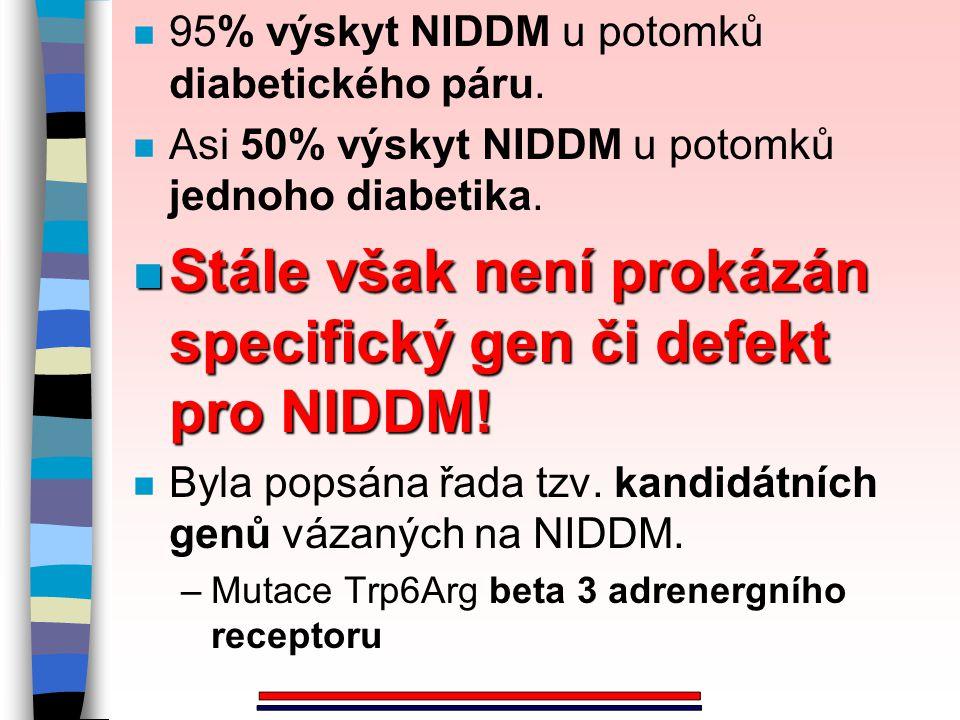 n 95% výskyt NIDDM u potomků diabetického páru. n Asi 50% výskyt NIDDM u potomků jednoho diabetika. n Stále však není prokázán specifický gen či defek