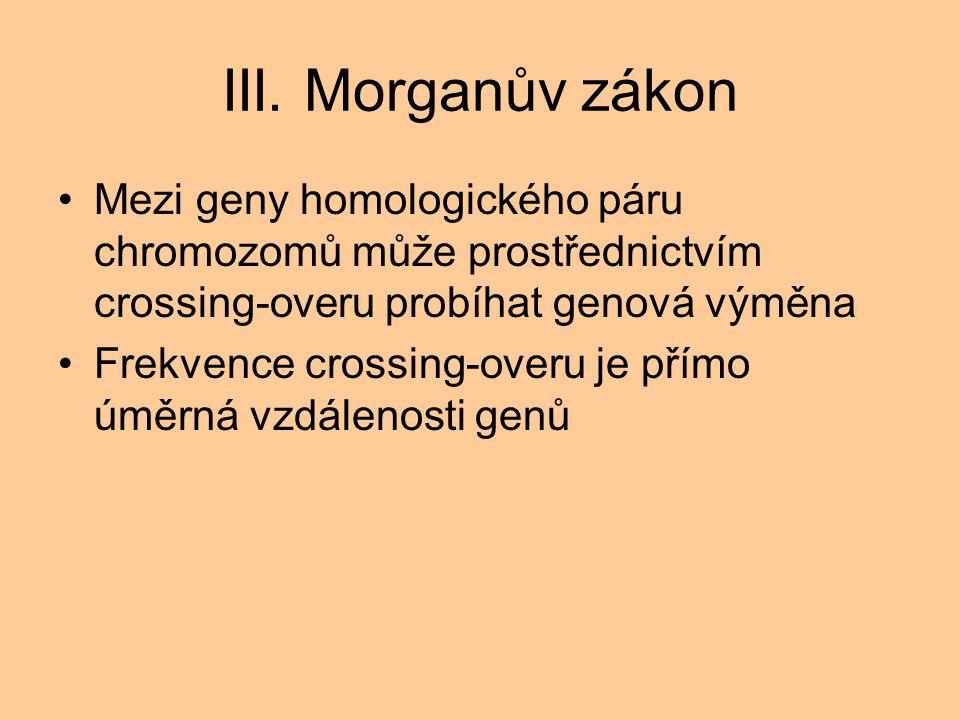 III. Morganův zákon Mezi geny homologického páru chromozomů může prostřednictvím crossing-overu probíhat genová výměna Frekvence crossing-overu je pří