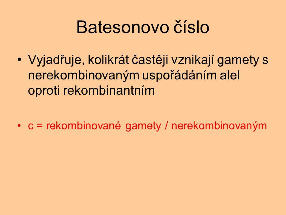 Batesonovo číslo Vyjadřuje, kolikrát častěji vznikají gamety s nerekombinovaným uspořádáním alel oproti rekombinantním c = rekombinované gamety / nerekombinovaným