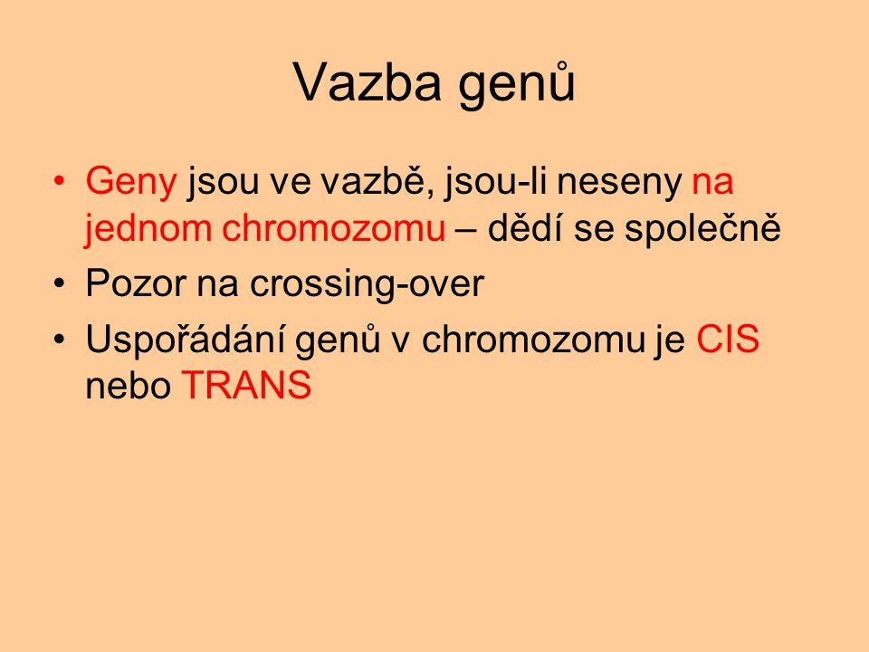 Vazba genů Geny jsou ve vazbě, jsou-li neseny na jednom chromozomu – dědí se společně Pozor na crossing-over Uspořádání genů v chromozomu je CIS nebo