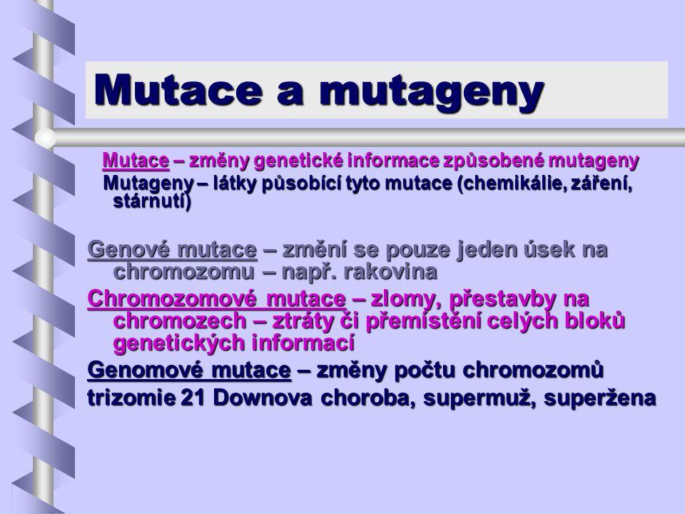 Mutace a mutageny Mutace – změny genetické informace způsobené mutageny Mutace – změny genetické informace způsobené mutageny Mutageny – látky působíc
