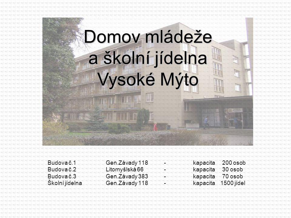 Budova č.1Gen.Závady 118-kapacita200 osob Budova č.2Litomyšlská 66-kapacita30 osob Budova č.3Gen.Závady 383-kapacita70 osob Školní jídelnaGen.Závady 1
