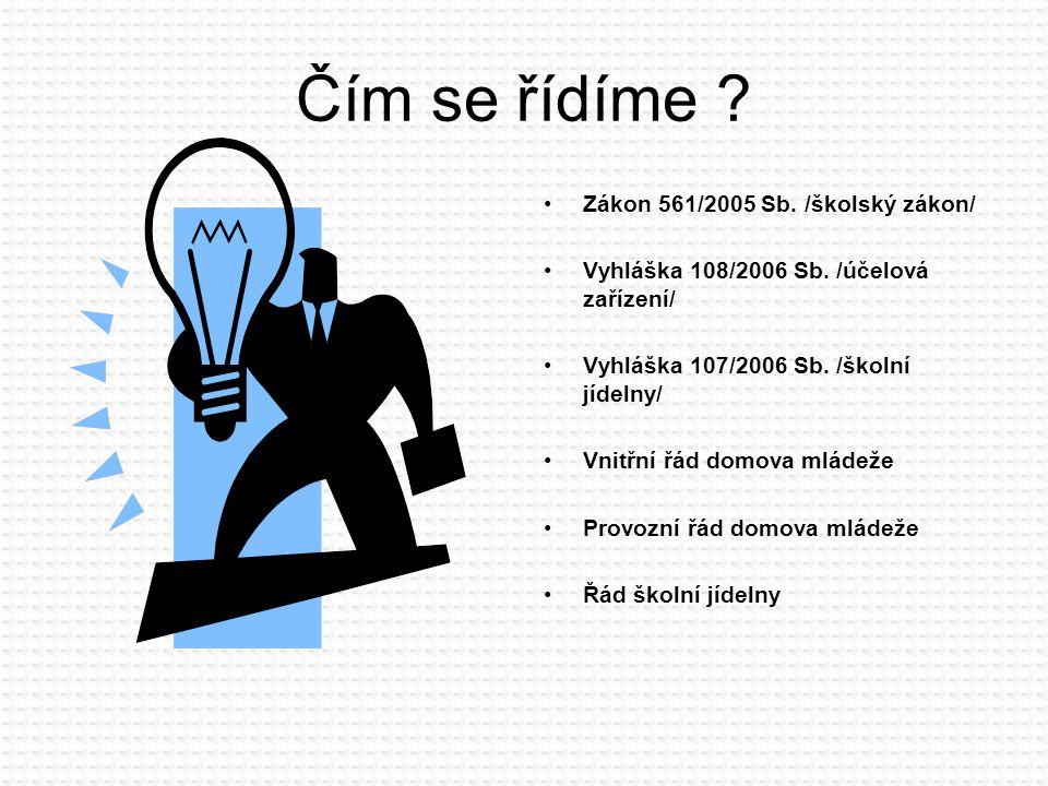 Čím se řídíme . Zákon 561/2005 Sb. /školský zákon/ Vyhláška 108/2006 Sb.