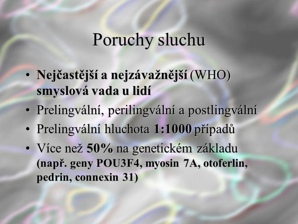 Poruchy sluchu Nejčastější a nejzávažnější (WHO) smyslová vada u lidíNejčastější a nejzávažnější (WHO) smyslová vada u lidí Prelingvální, perilingváln