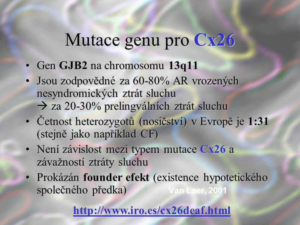 Mutace genu pro Cx26 Gen GJB2 na chromosomu 13q11Gen GJB2 na chromosomu 13q11 Jsou zodpovědné za 60-80% AR vrozených nesyndromických ztrát sluchu  za