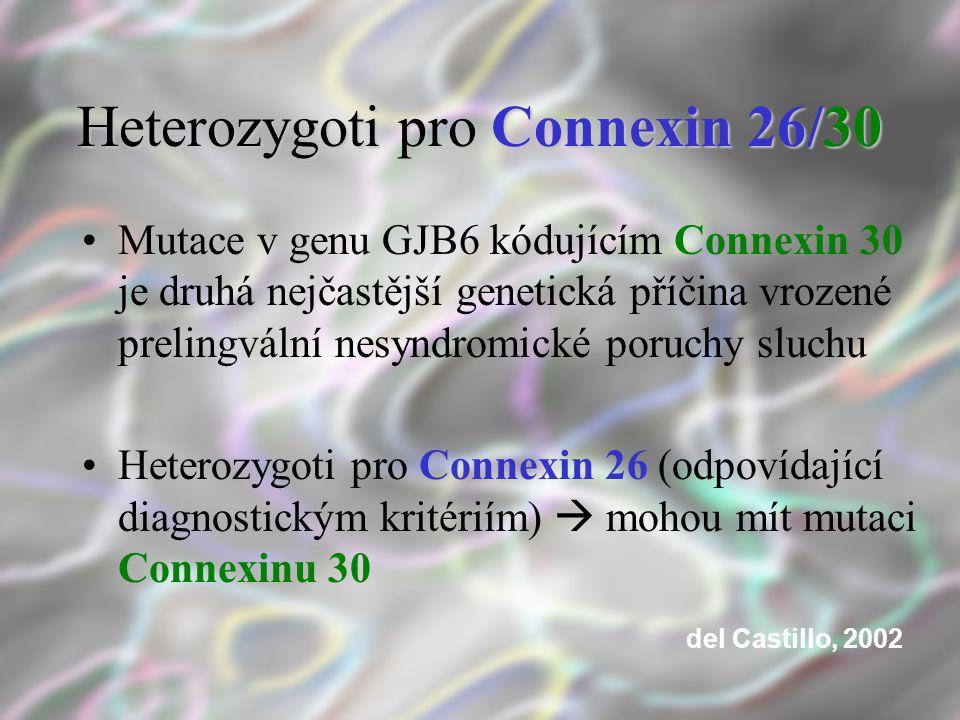Heterozygoti pro Connexin 26/30 Mutace v genu GJB6 kódujícím Connexin 30 je druhá nejčastější genetická příčina vrozené prelingvální nesyndromické por