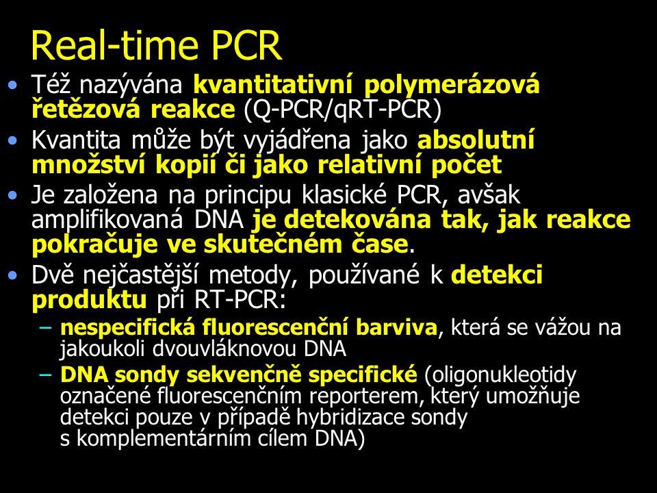Real-time PCR Též nazývána kvantitativní polymerázová řetězová reakce (Q-PCR/qRT-PCR) Kvantita může být vyjádřena jako absolutní množství kopií či jako relativní počet Je založena na principu klasické PCR, avšak amplifikovaná DNA je detekována tak, jak reakce pokračuje ve skutečném čase.