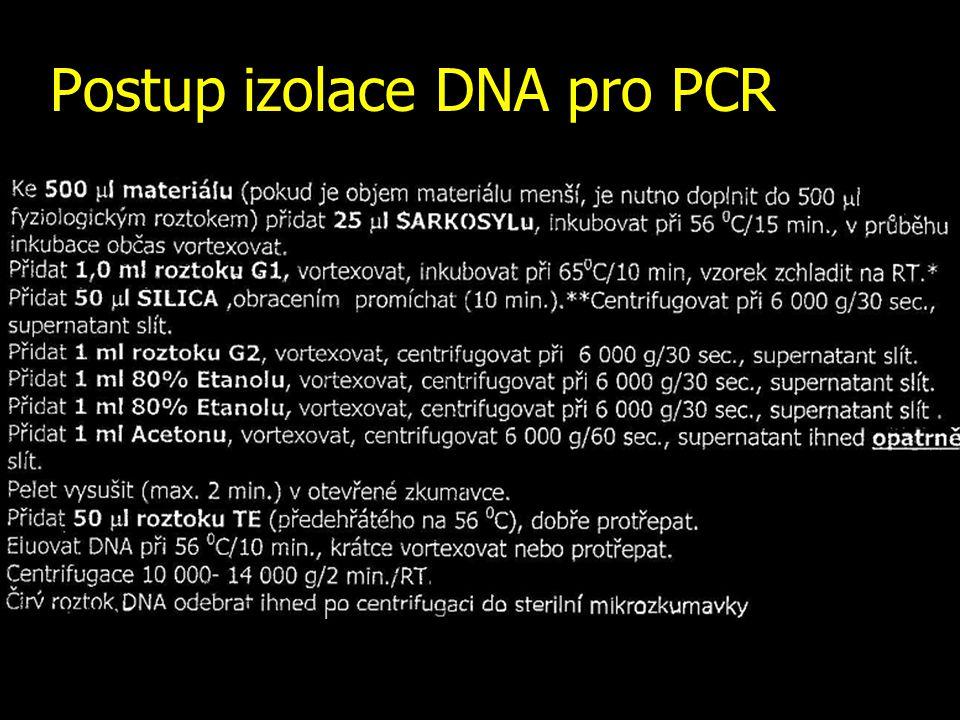 Postup izolace DNA pro PCR