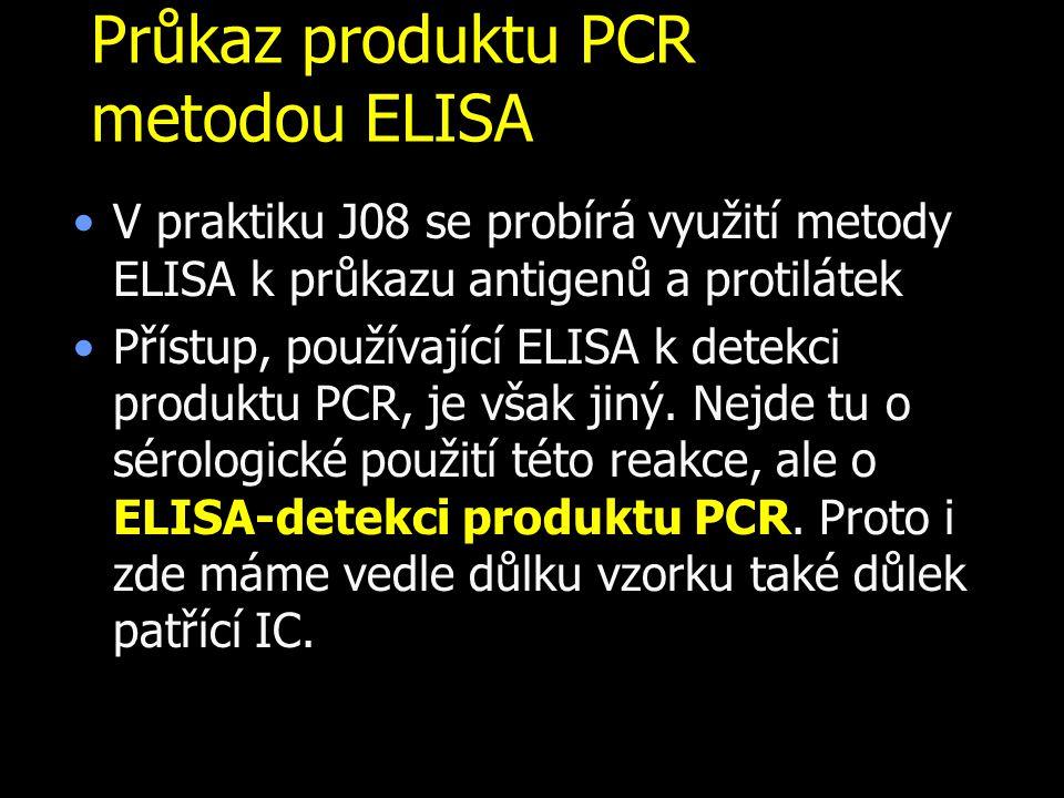 Průkaz produktu PCR metodou ELISA V praktiku J08 se probírá využití metody ELISA k průkazu antigenů a protilátek Přístup, používající ELISA k detekci produktu PCR, je však jiný.