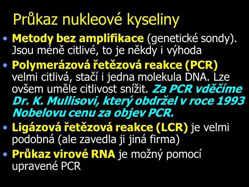 Průkaz nukleové kyseliny Metody bez amplifikace (genetické sondy). Jsou méně citlivé, to je někdy i výhoda Polymerázová řetězová reakce (PCR) velmi ci