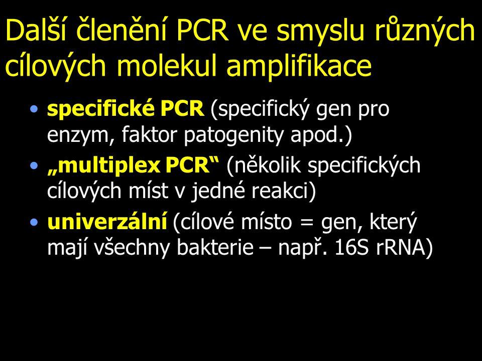 """Další členění PCR ve smyslu různých cílových molekul amplifikace specifické PCR (specifický gen pro enzym, faktor patogenity apod.) """"multiplex PCR (několik specifických cílových míst v jedné reakci) univerzální (cílové místo = gen, který mají všechny bakterie – např."""
