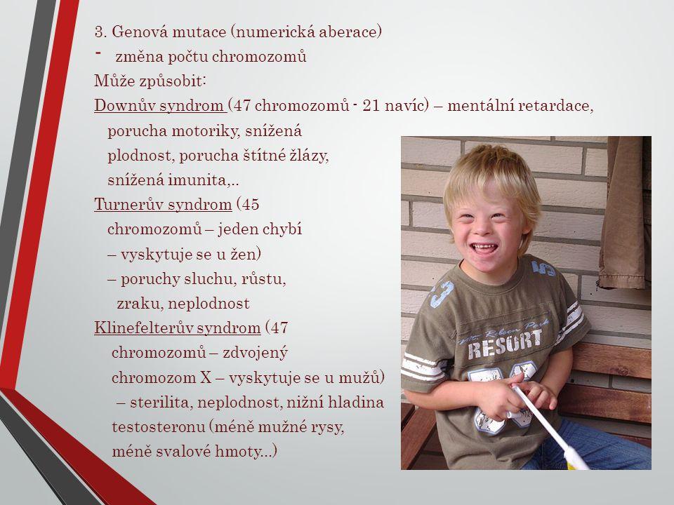 3. Genová mutace (numerická aberace) - změna počtu chromozomů Může způsobit: Downův syndrom (47 chromozomů - 21 navíc) – mentální retardace, porucha m