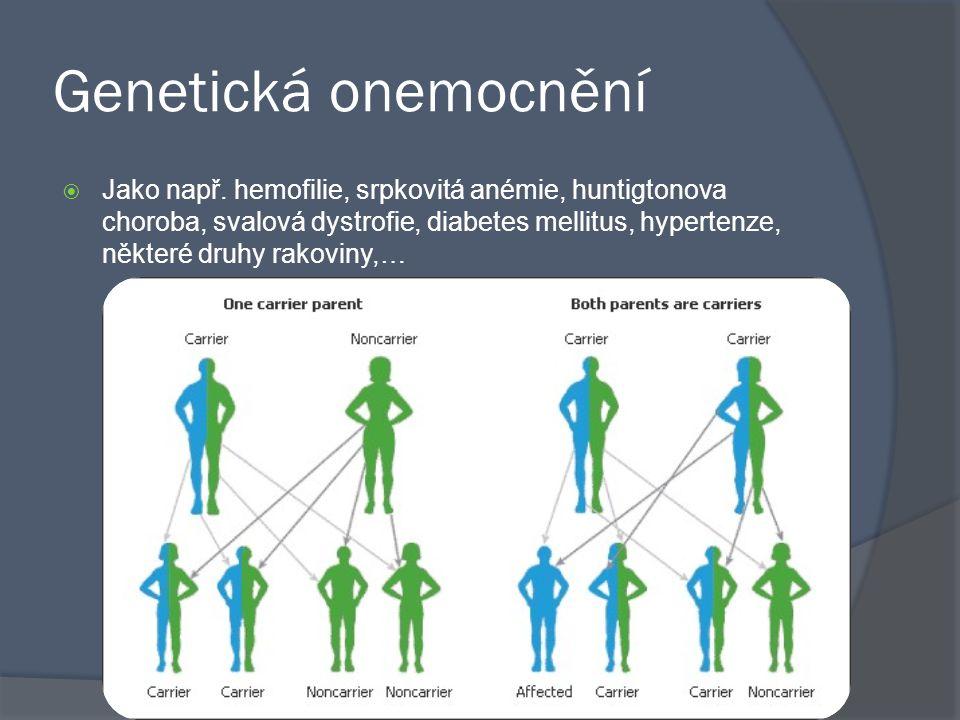 Genetická onemocnění  Jako např. hemofilie, srpkovitá anémie, huntigtonova choroba, svalová dystrofie, diabetes mellitus, hypertenze, některé druhy r