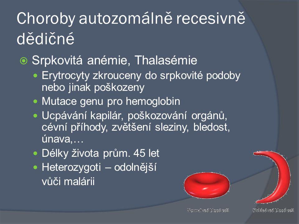 Choroby autozomálně recesivně dědičné  Srpkovitá anémie, Thalasémie Erytrocyty zkrouceny do srpkovité podoby nebo jinak poškozeny Mutace genu pro hem