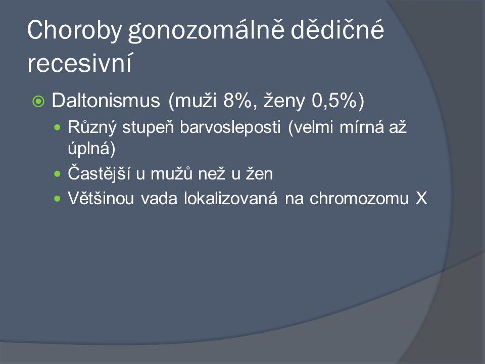 Choroby gonozomálně dědičné recesivní  Daltonismus (muži 8%, ženy 0,5%) Různý stupeň barvosleposti (velmi mírná až úplná) Častější u mužů než u žen V