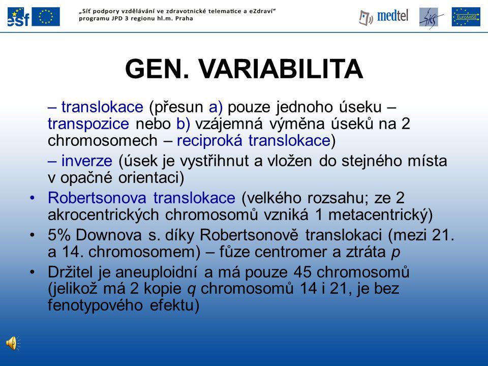 GEN. VARIABILITA – translokace (přesun a) pouze jednoho úseku – transpozice nebo b) vzájemná výměna úseků na 2 chromosomech – reciproká translokace) –